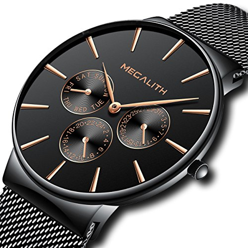 Waterproof Date Watch (Mens Black Watches Men Sport Waterproof Thin Mesh Wrist Watch Day Date Calendar Luxury Watches for Men)
