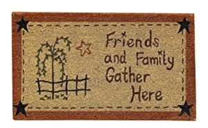 Friends And Family Gather Here Willow Star Durable Bristle Doormat Country Primitive Home Decor