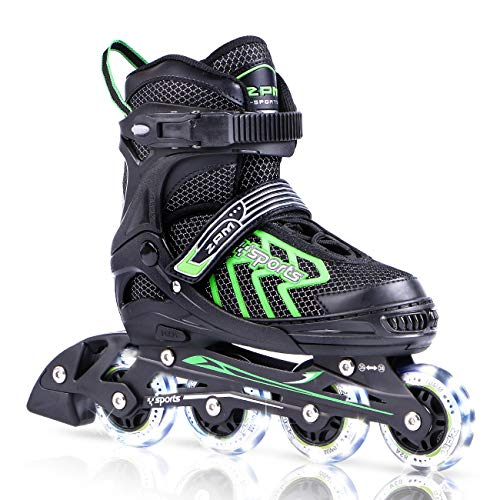 2PM SPORTS Brice Adjustable Inline Skates, Featuring Light Up LED Wheels, Fun Flashing Roller Skates for Boys Kids and Youth - Green M