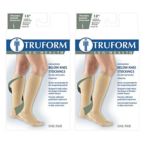 Truform 8808 Anti-Embolism Knee Length Closed Toe 18 mmHg Stockings, Black, 3X-Large (Pack of 2)