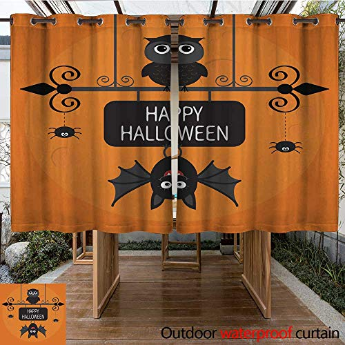 Luckyee Outdoor Curtains for Patio Waterproof Happy Halloween