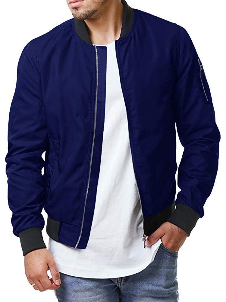 Enjoybuy Mens Lightweight Bomber Jackets Fall Winter Outerwear Full Zip Up Baseball Varsity Jacket (Large, Blue) by Enjoybuy