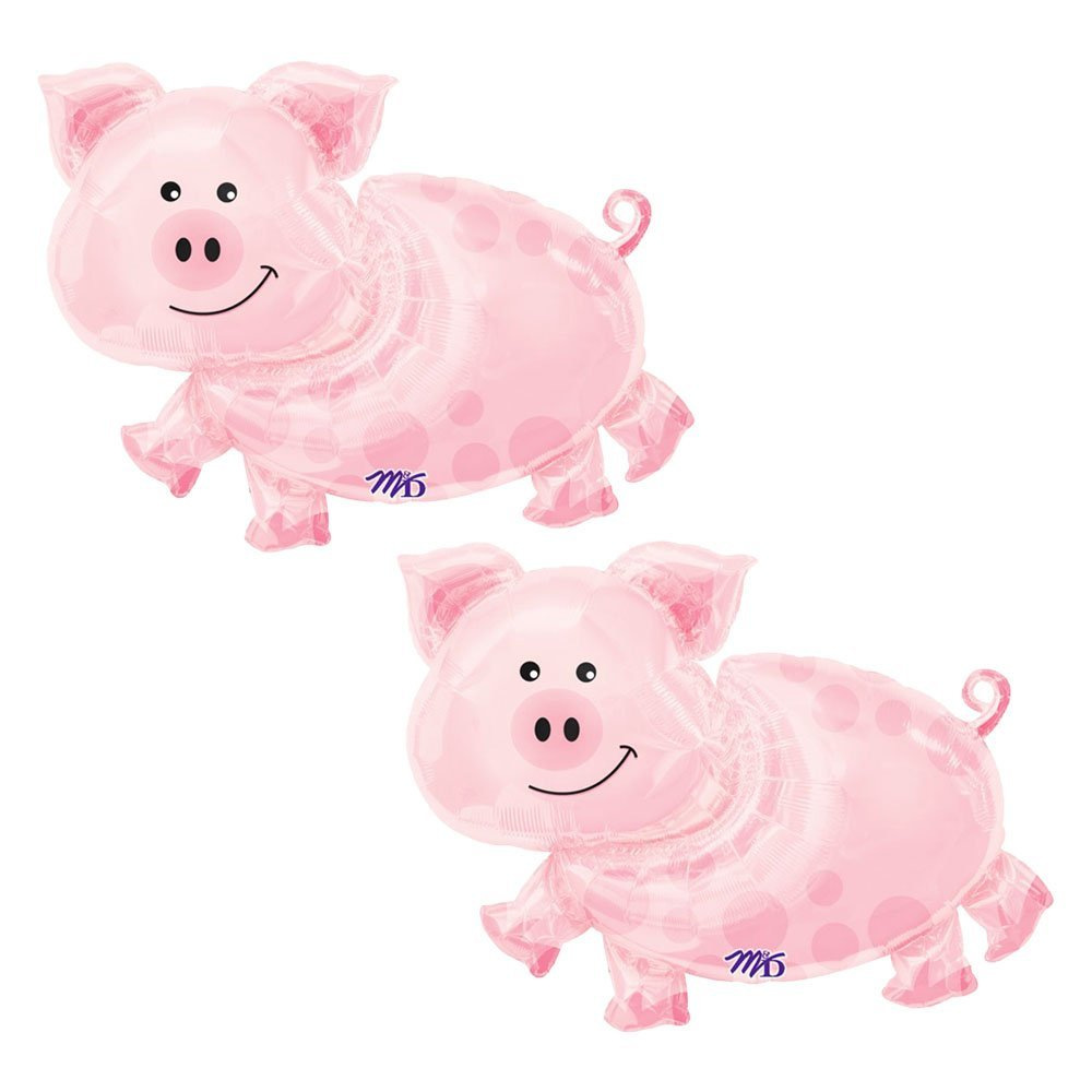 Set of 2 Pink Pig Farm Animal 35'' Baby Shower Birthday Foil Party Balloons