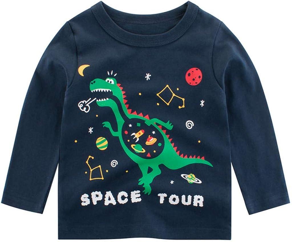 TIANRUN Kids Girls Boys Cartoon T Shirt Graphic Long Sleeve Tees Tops Children Dinosaur Print Sweatshirt Pullover