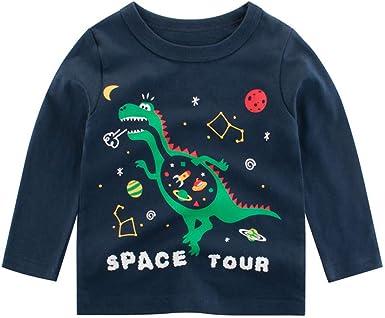 Camiseta de Dinosaurio Animal de Manga Larga para bebés niños niñas Camisa Sudadera Negro 1-2 Años: Amazon.es: Ropa y accesorios