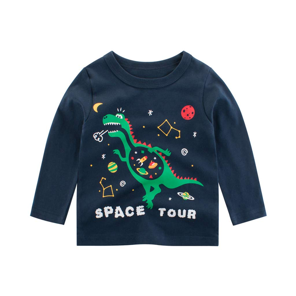 Baby Boy Cartoon Animal Dinosaur Crocodile Print O-Neck Long Sleeve Tops Tee Shirt Clothes Autumn 1-2 Years 2-3 Years 3-4 Years 4-5 Years 5-6Years 6-7 Years wuayi Boys T-Shirt