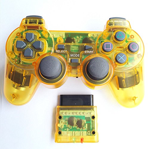Bowink Wireless Gaming Controller for Ps2 Double Shock - Clear Yellow