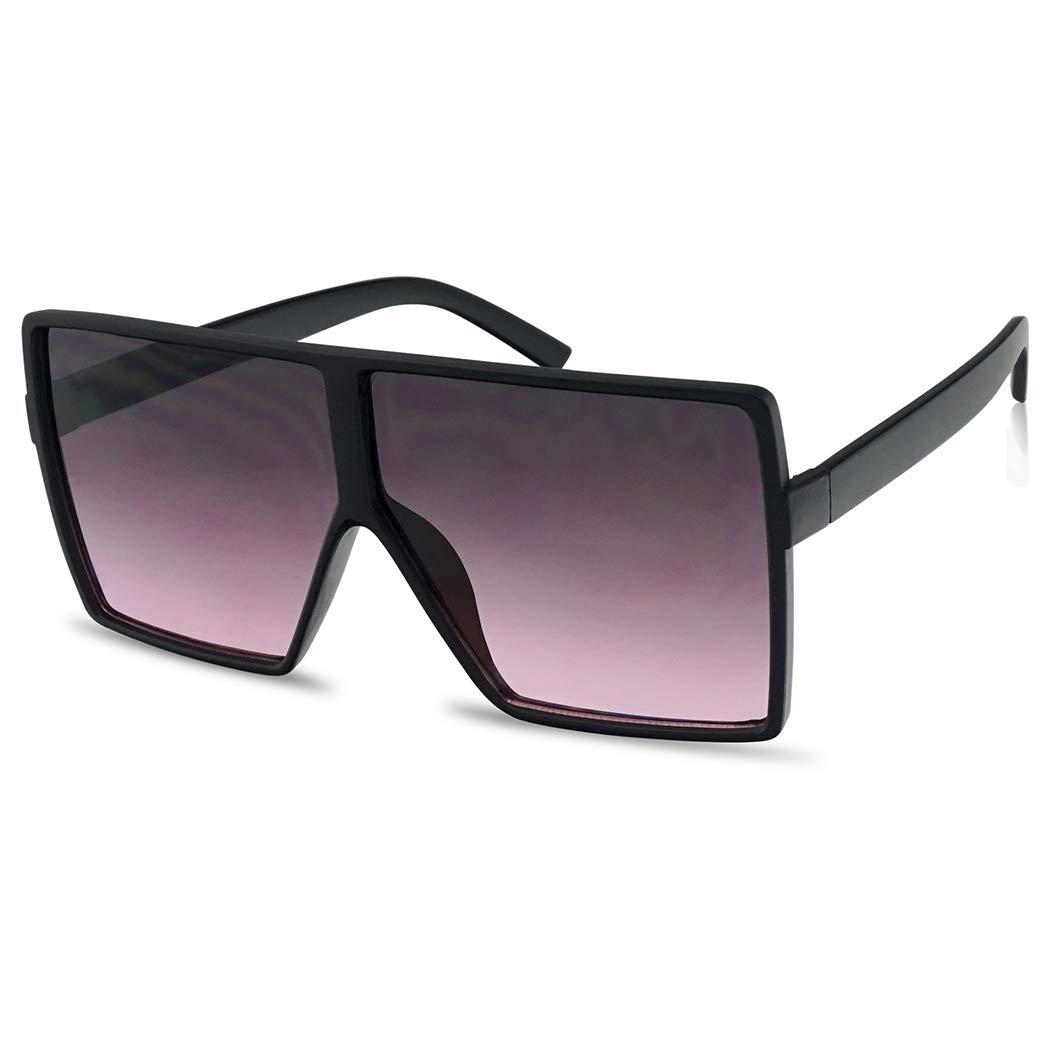 Big XL Large Oversized Super Flat Top Square Two Tone Color Fashion Sunglasses (Matte Black/Black Purple Lens, 69) by SunglassUP