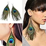 JETTINGBUY Assorted Color Peacock Feather Drop Earrings