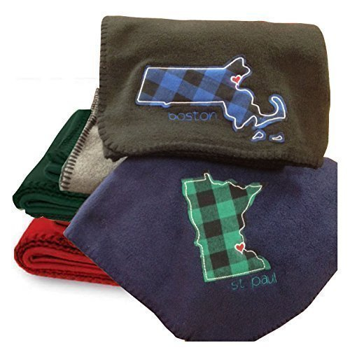 Personalized Fleece Throw Blanket - State Themed Fleece Blanket with City Embroidery, 60