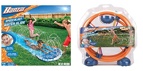- Bundle of Banzai 16 Ft. Speed Blast Water Slide and 12 Ft. Wigglin' Water Sprinkler with Over 15 Spraying Micro Hoses