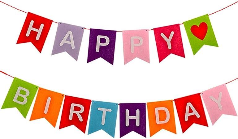 Tendycoco Cartel De Feliz Cumpleaños Reutilizable De Tela Colorida Arcoíris Letras Para Decoración De Fiesta Doble Octaedra Para Cumpleaños Feliz 68 G Unidad Amazon Es Hogar