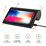 Wireless Charger with Bluetooth Speaker 4.0, 10W Portable Wireless Charger Stand Pad with Speaker for iPhone X/8/8 Plus, Samsung Galaxy Note 8 S9 Plus S8 Plus S7 Edge S6 Edge, LG G6 v30