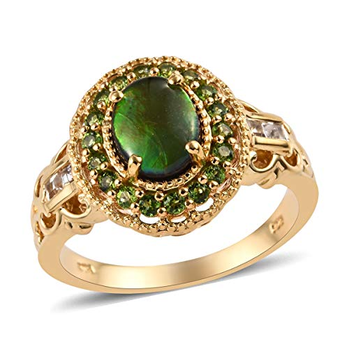 Halo Ring 925 Sterling Silver Vermeil Yellow Gold White Topaz Chrome Diopside Jewelry for Women Size 6