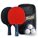 Training Table Tennis/Ping Pong Set - 2 Premium Paddles/Rackets/Bats , 3 Balls and 1 Carrying Case