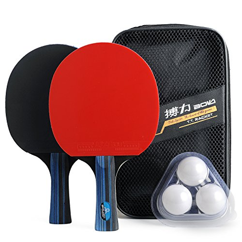Training Table Tennis/Ping Pong Set - 2 Premium Paddles/Rackets/Bats , 3 Balls and 1 Carrying Case by Boli