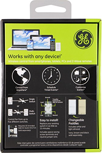 GE Z-Wave Wireless Smart Fan Speed Control, 3-Speed, In-Wall, Includes White & Light Almond Paddles, Hub Required, 12730, Works with Alexa by GE (Image #4)