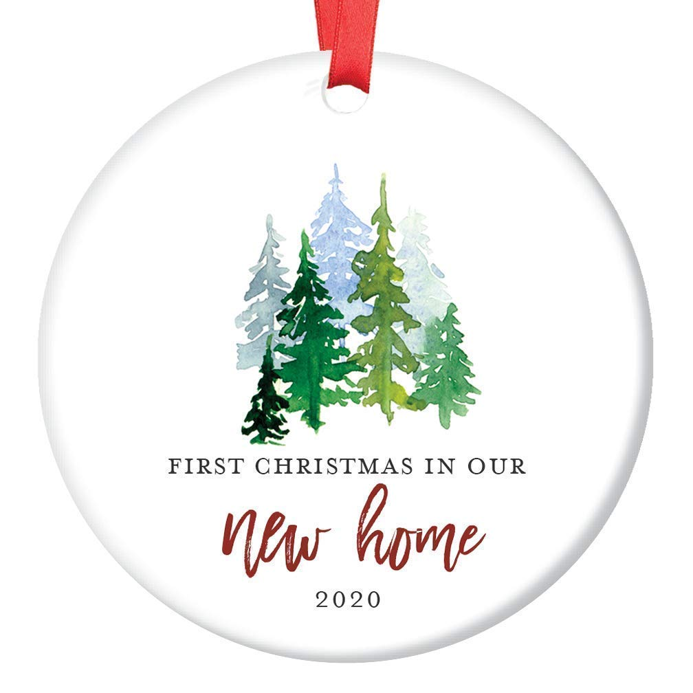 """New Home Ornament 2020 1st Christmas In Our New House, First Home Ornament Housewarming Gifts Xmas Present Idea Ceramic Keepsake 3"""" Flat Circle Porcelain with Red Ribbon & Free Box"""