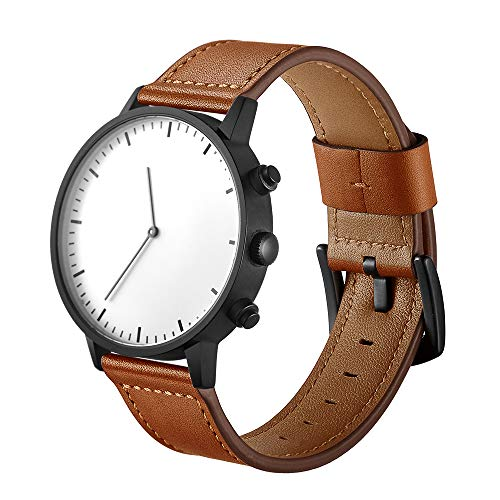 Watch Band Leather Replacement Watch Strap with Stainless Metal Buckle Clasp (22mm, Brown)