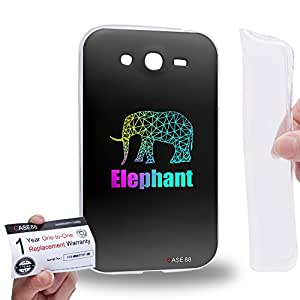 Case88 [Samsung Galaxy Grand Duos i9082 i9080] Gel TPU Carcasa/Funda & Tarjeta de garantía - Art Hand Drawing Black With Colour Hipster Elephant
