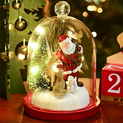 Valery Madelyn 10 Traditional Polyresin Christmas Santa Claus Figurines Decorations in Cloche with Led Lights, Themed with Christmas Ornaments