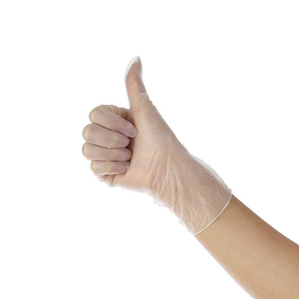 Guantes desechables PVC transparente Guantes microel/ásticos gruesos Impermeables Mantener limpios 100 Pcs M,Transparent
