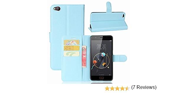 Guran® Funda de Cuero PU Para ZTE Nubia N2 Smartphone Función de Soporte con Ranura para Tarjetas Flip Case Cover Caso-azul