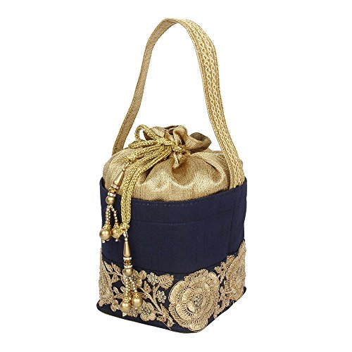 Drawstring Women0 Potlli Purse Blue Discount Embroidery Colour