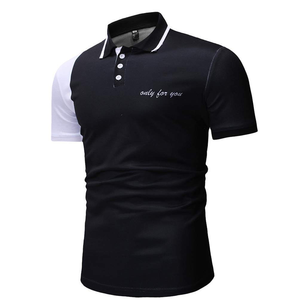 2019 Blouse for Men,Mens Buttons Design Half Cardigans Short Sleeve Patchwork Casual T Shirt,Mens Underwear,Black,M