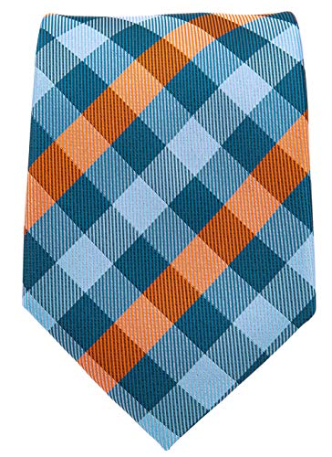 Gingham Plaid Ties for Men - Woven Necktie - Turquoise and Orange