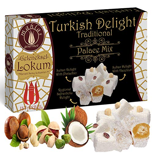 (Mahlas Gourmet Turkish Delight - Traditional Sweet Halva With Pistachio And Hazelnut - It Is The Favourite Dessert Of Sultans In The Ottoman Palaces In The 17th Century)