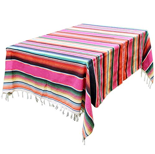 59 x 84 inch Mexican Blanket for Mexican Wedding Party Decorations, Large Square Cotton Woven Mexican Serape Table Cloth
