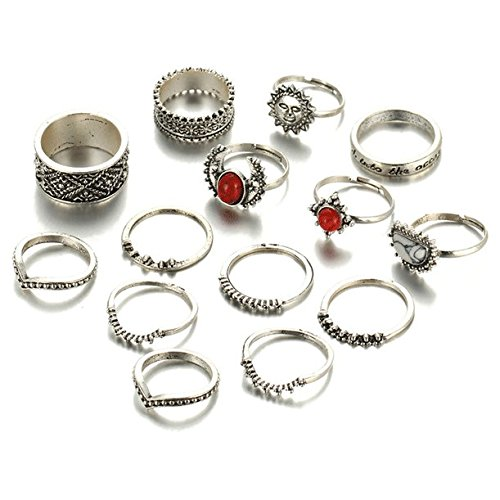 f9fdd94a864 Shining Diva Fashion Set of 14 Midi Finger Rings for Women &  Girls(Silver)(8613r)