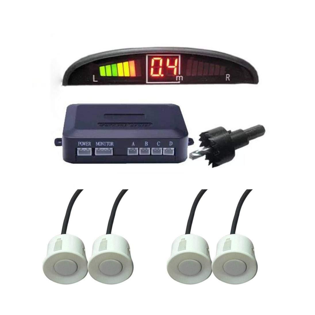 Sonmer Car Reversing Parking Radar Sensor, With 4 Sensors Audio Buzzer Sound Alarm (White)