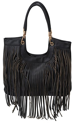 Beaute Bags Maddee Fringe Tassel Shoulder Handbag Vegan Leather (Black)