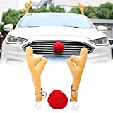 YGMONER Car Window Roof Front Accessories Rudolf Reindeer Antlers Easy Install Rooftop Antler and Grille Nose
