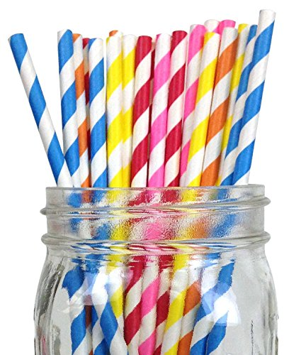 just-artifacts-decorative-paper-straws-100pcs-striped-pattern-assorted-colors-click-for-more-colors-
