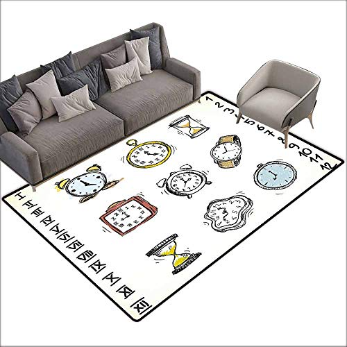 Cobalt Clock Plate Blue (Door Rug Indoors Clock A Collection of Vintage Style Watches and Doodled Clocks Hand Drawn Illustration Breathability W6' x L8'10 White and Black)