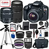Canon EOS Rebel T6 Digital SLR Camera with EF-S 18-55mm is ii, Canon EF 75-300mm Telephoto Lens USA (Black) 19PC Professional Bundle Package Deal –SanDisk 64gb SD Card + Canon Shoulder Bag + More For Sale