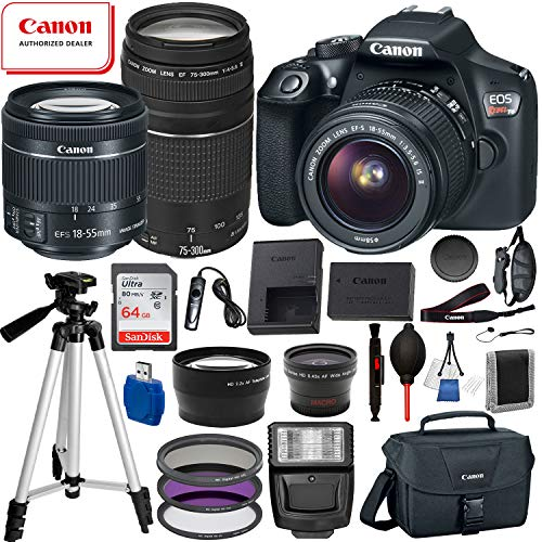 Canon EOS Rebel T6 Digital SLR Camera with EF-S 18-55mm is ii, Canon EF 75-300mm Telephoto Lens USA (Black) 19PC Professional Bundle Package Deal –SanDisk 64gb SD Card + Canon Shoulder Bag + More