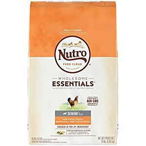 NUTRO WHOLESOME ESSENTIALS Senior Farm-Raised Chicken, Brown Rice & Sweet Potato Recipe Adult Dry Dog Food Plus Vitamins, Minerals & Other Nutrients; (1) 15-lb. bag