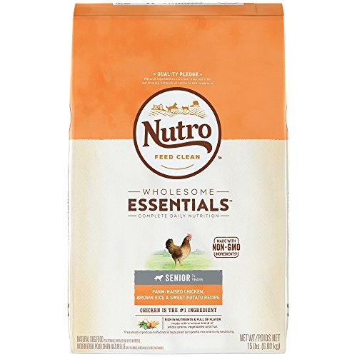 NUTRO WHOLESOME ESSENTIALS Natural Senior Dry Dog Food Farm-Raised Chicken, Brown Rice & Sweet Potato Recipe, 15 lb. Bag