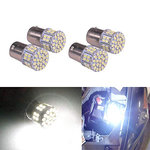 MBS 4PCS Super Bright White 1156 1206 50-SMD 6000K Car LED Bulbs For Car Rear Turn Signal lights Interior RV Camper DC 12V