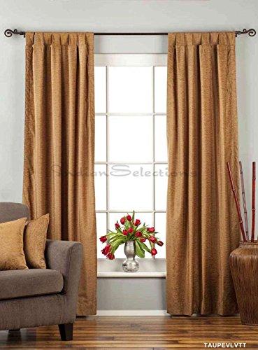 Lined-Taupe Tab Top Velvet Curtain / Drape / Panel - 60W x 108L - ()