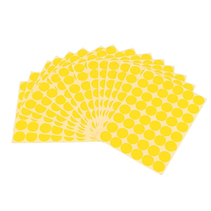 VishYogi Printers   500Pcs 15mm Dots Sticker Round Circle Blank Labels Self Adhesive   Colour    Yellow  Stickers