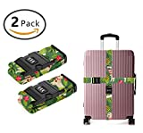SWEET TANG Luggage Straps Suitcase Belts Travel Bag Accessories 2Pack, Golden Retriever Hula Dancer dog
