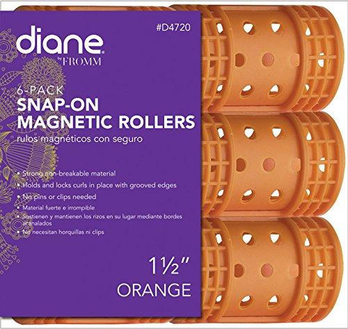 "Diane Snap On Magnetic Roller, Orange, 1 1/2"", Keeps hair style in place, Holds curls, Non breakable material, For all types of hair, Hair style, Dry or damp hair."