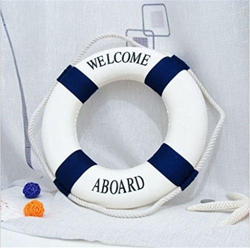 Linkings Rettungsring Deko zum Aufh?ngen an der Wand mit Aufschrift Welcome on Board, Blau, 20CM