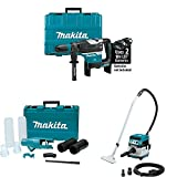 "Makita XRH07ZKU 18V X2 LXT (36V) Brushless 1-9/16"" Adv AVT Rotary Hammer, AWS, Dust Extraction Attachment Kit, XCV08Z 18V X2 (36V) Brushless 2.1-Gal HEPA Filter Dry Dust Extractor/Vacuum, AWS"