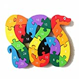 The Jigsaw Puzzles Wooden Toys Animals A-Z & Number Puzzle Educational Toys For Toddlers Children Gifts (Snake)